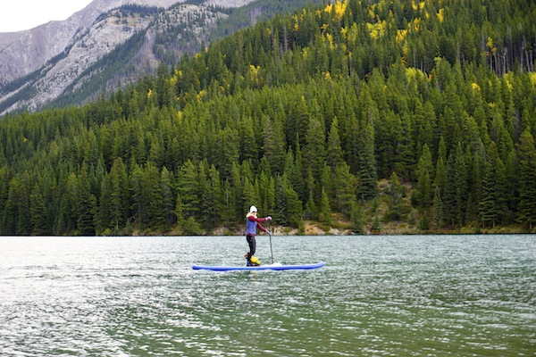 paddling the Sea Eagle Longboard SUP in Banff