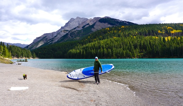 Longboard inflatable SUP at Two Jack Lake, Banff