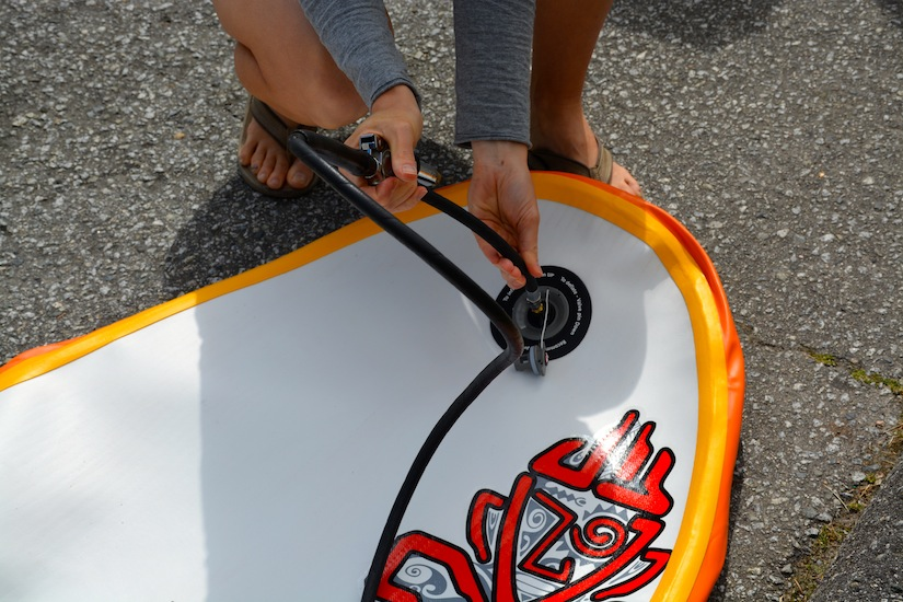 inflating SUP with the Slingshot high-pressure valve