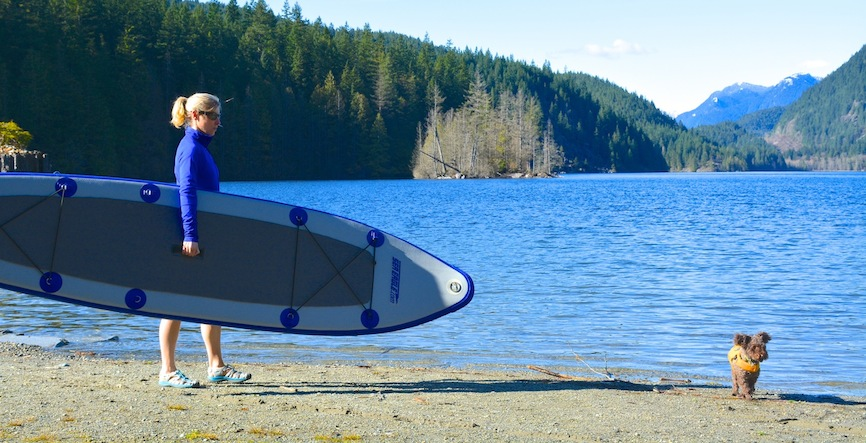 paddling inflatable SUP with my dog Seth