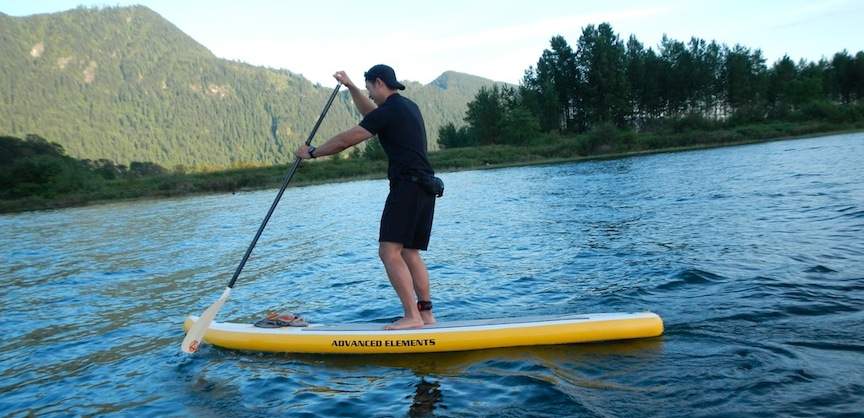 paddling the AE Fishbone inflatable SUP