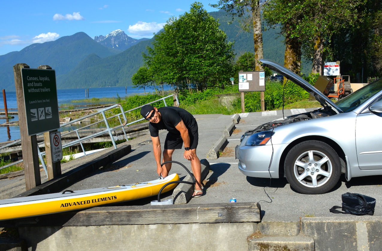 inflating SUP with BTP Electric 2-stage turbo pump