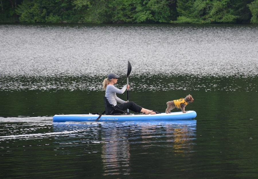 paddling inflatable SUP kayak style