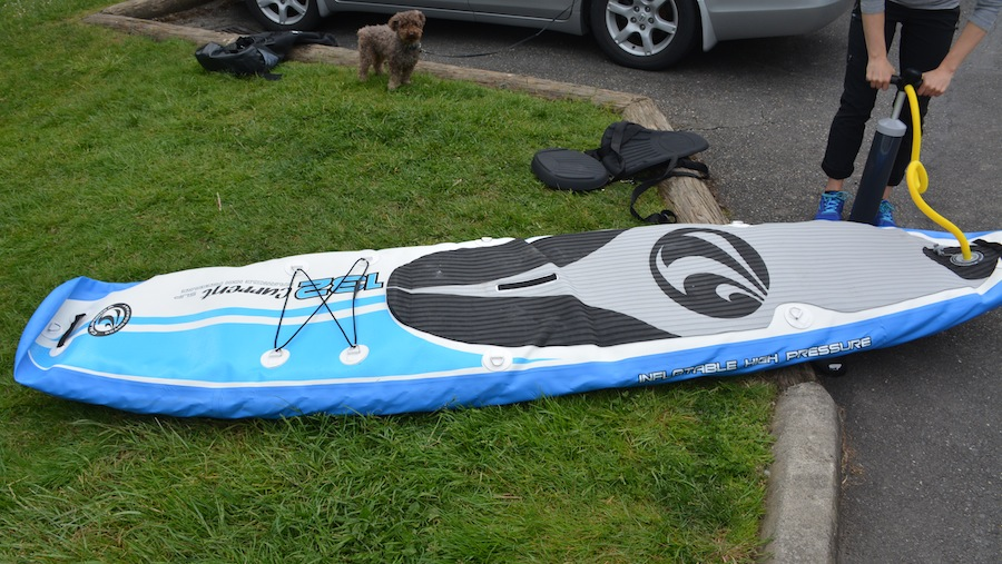 inflating the California Board Company inflatable paddle board