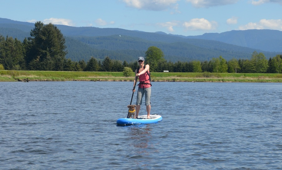 Seth and I paddling the 132 Current ISUP
