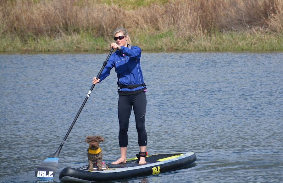 stand up paddling with Isle carbon fiber adjustable paddle