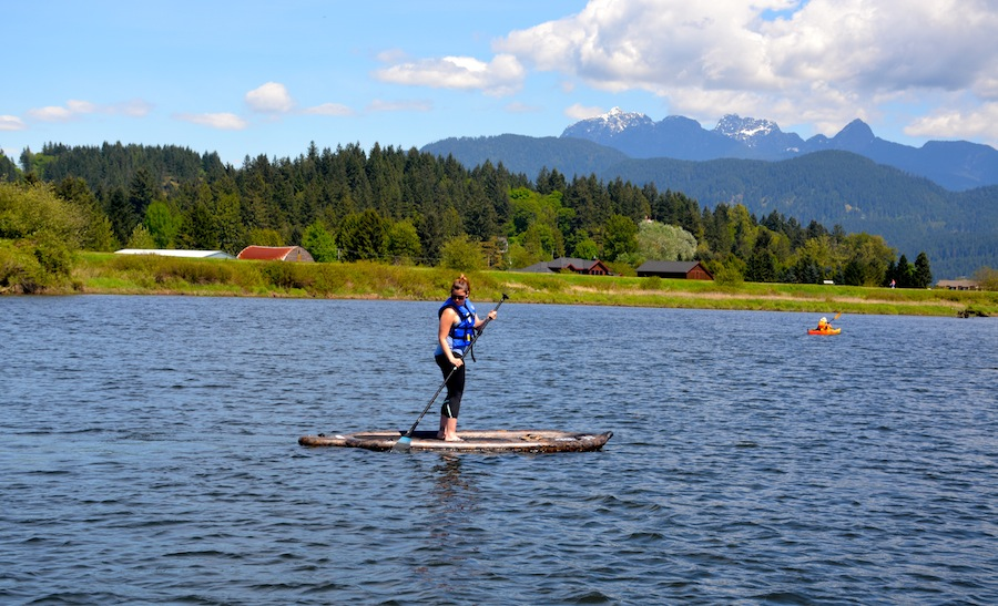 paddling the SS camouflage inflatable SUP