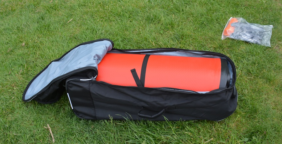 inflatable stand-up paddle board in carry bag