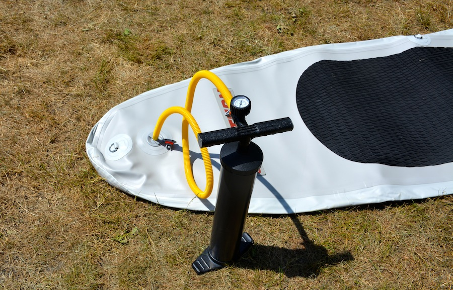 inflating the 11' Ultra-Light paddle board
