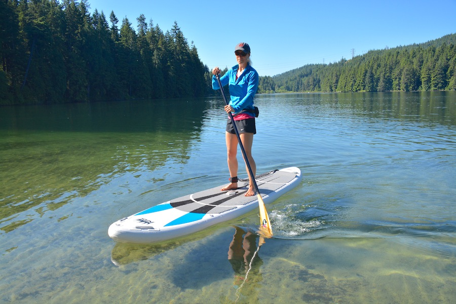 paddle boarding the NRS Earl on Sasamat Lake