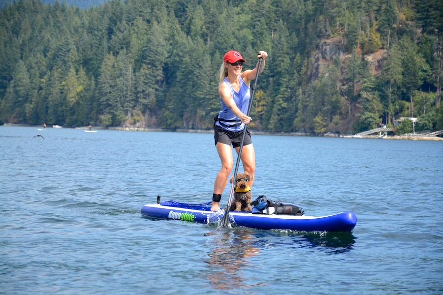 paddling the Aquaglide Cascade inflatable SUP
