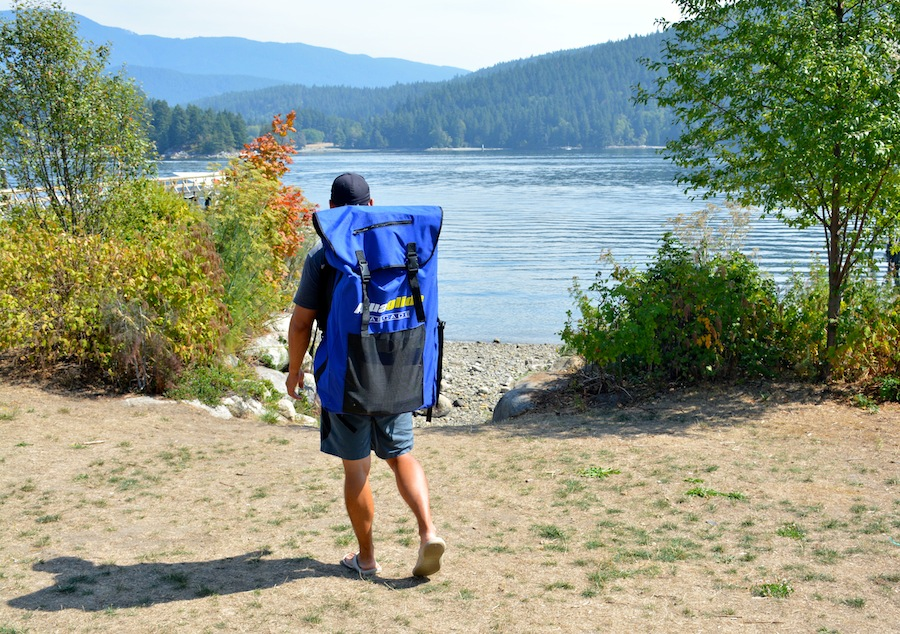 Aquaglide backpack - going SUP'ing at Deep Cove, BC