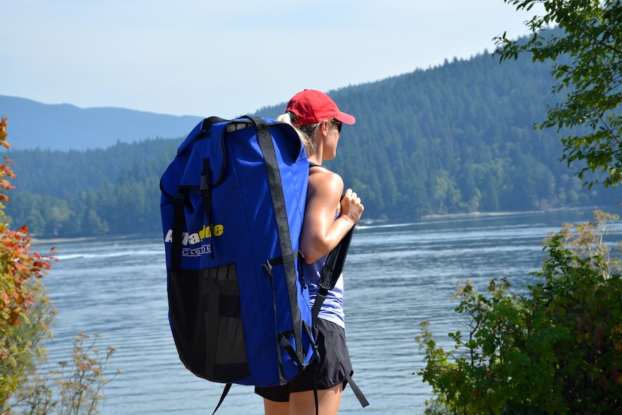 Carrying the Aquaglide SUP backpack