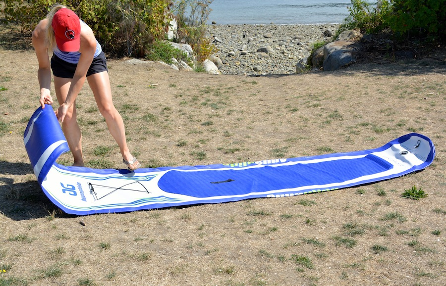 unrolling the Aquaglide touring sup