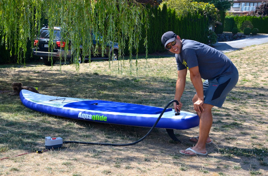 using electric pump on inflatable SUP