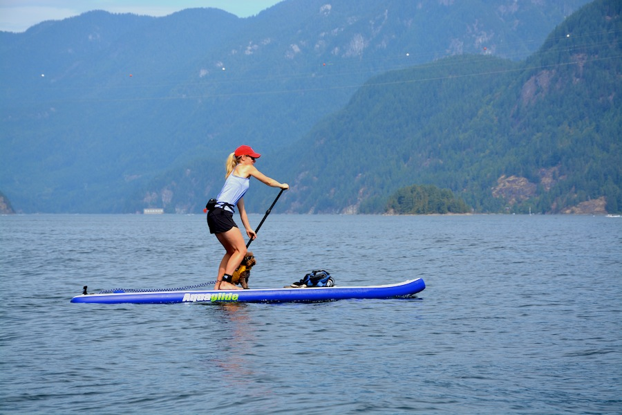 "stand up paddling on the Aquaglide 12'6"" paddle board"