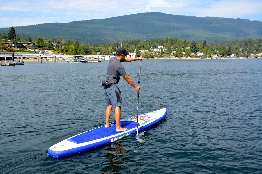 paddling the Aquaglide inflatable SUP