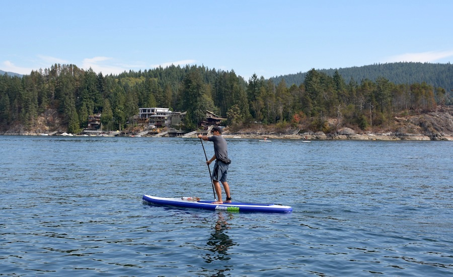 paddling the Aquaglide Cascade at Deep Cove, BC