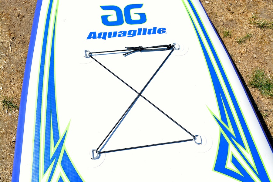 Aquaglide SUP bungee cord system for storing gear