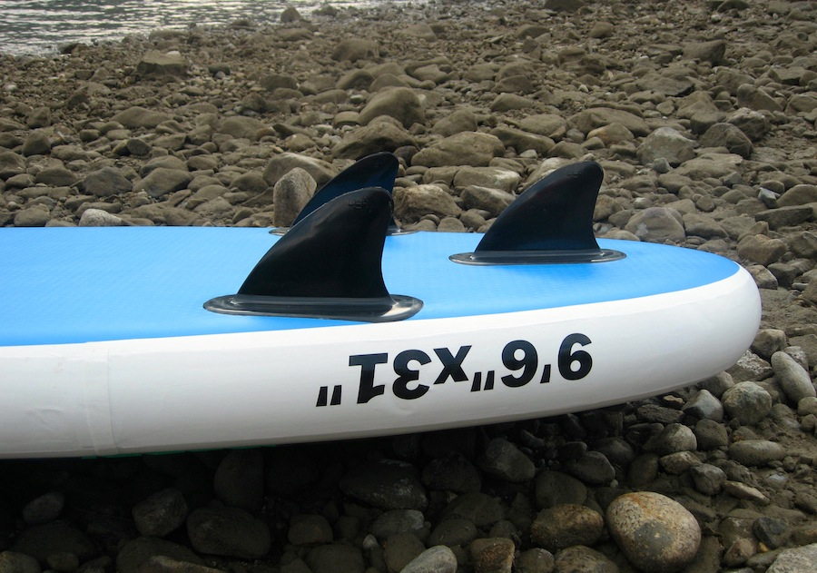 "3 attached fins on Earth River 9'6"" paddle board"