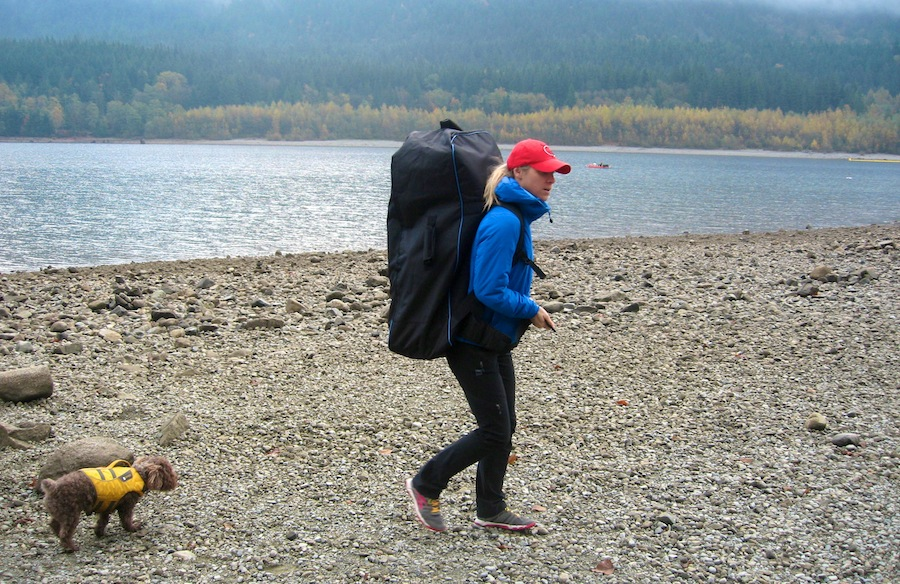 "Carrying the Earth River 9'6"" ISUP in backpack"