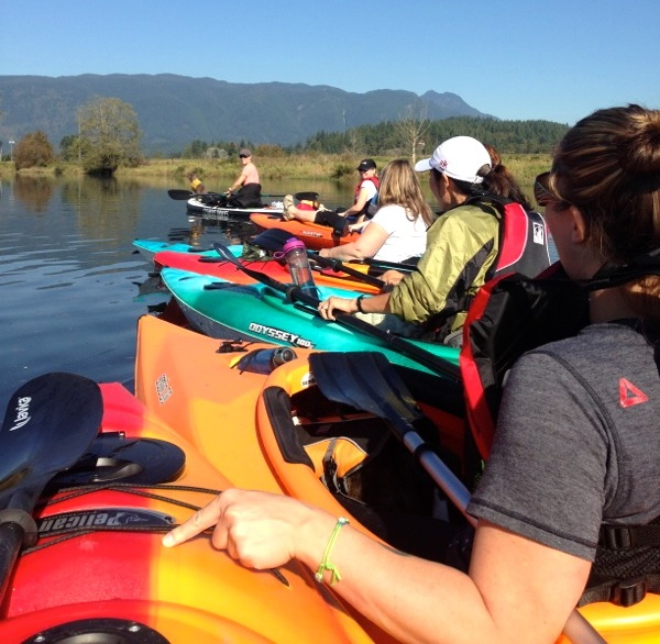 pulling six kayaks