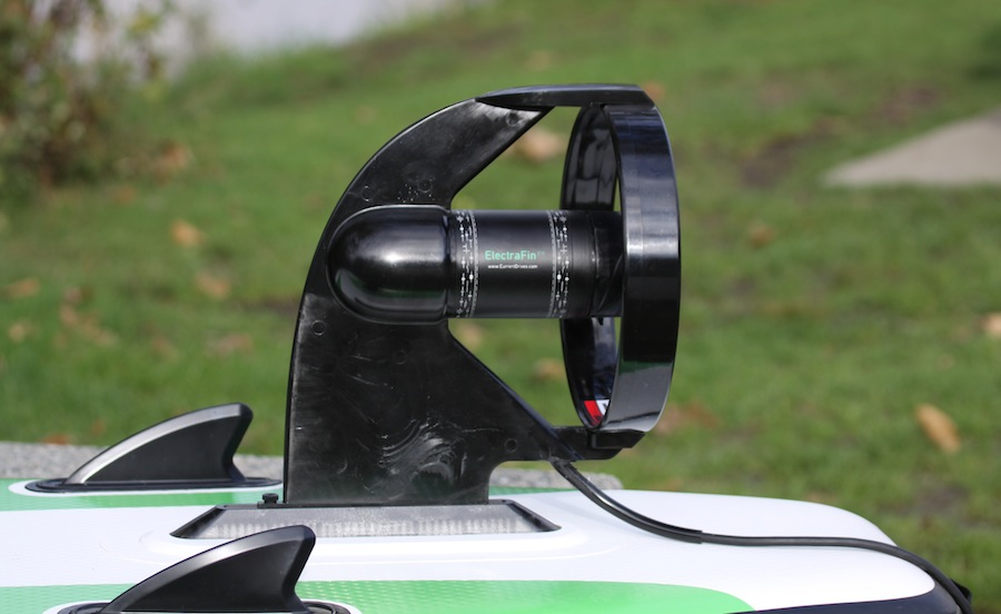 electrafin with protective housing mounted on SUP
