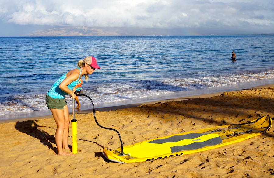 inflating paddle board in Wailea