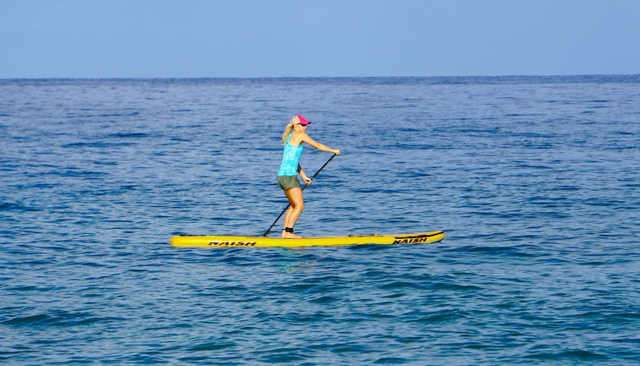 paddling the Glide Air inflatable SUP in Maui