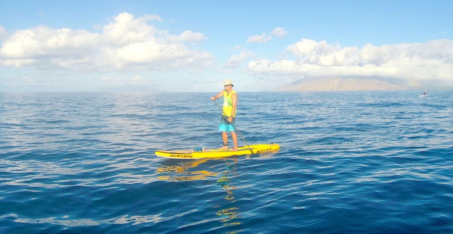 paddling the Naish Glide Air in Wailea
