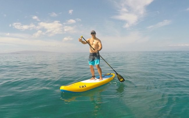 paddling the Mana Air inflatable SUP in Wailea