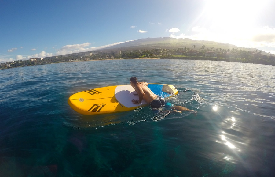 getting back on to the Naish Mana Air after swimming