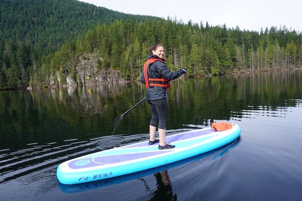 paddling the Airhead Fit at Buntzen Lake