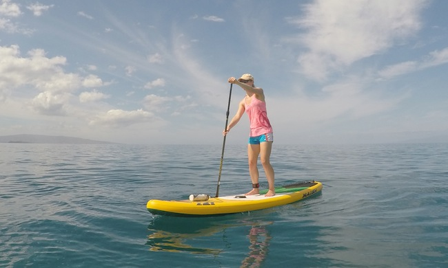 paddling in Maui on Crossover Air Series paddle board