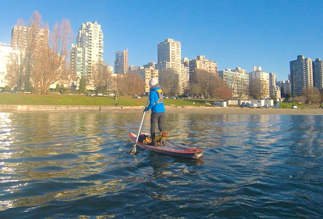 "paddling the 12'6"" Tantrum Tow Ropes ISUP off Kits Beach in Vancouver"