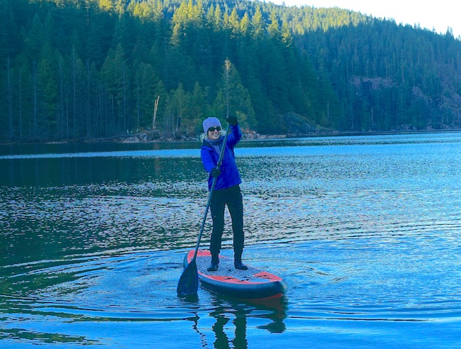 "stand-up paddling at Buntzen Lake on 12'6"" Tantrum Tow Ropes board"