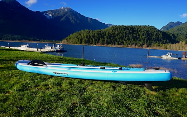 inflatable paddle board at Pitt Lake