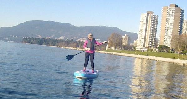 using airhead soft edge sup paddle paddling in Vancouver BC