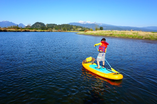 paddling on Alouette River kids ISUP