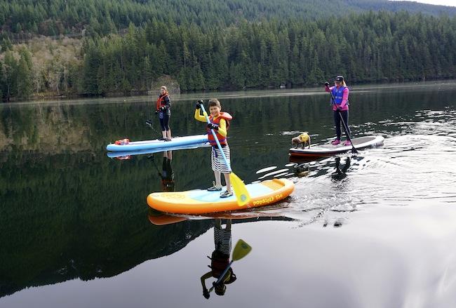 stand-up paddling at Buntzen Lake