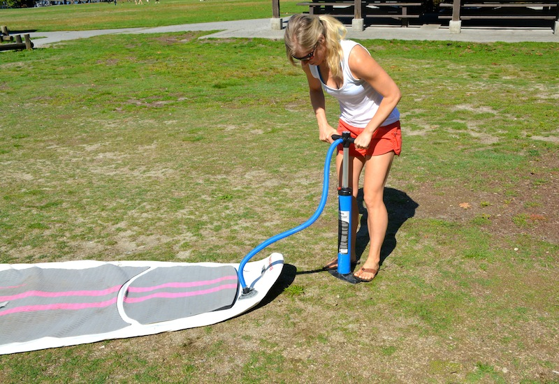 inflating the NRS Baron 6 inflatable SUP