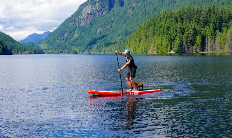paddling the White Shark Touring ISUP at Buntzen Lake