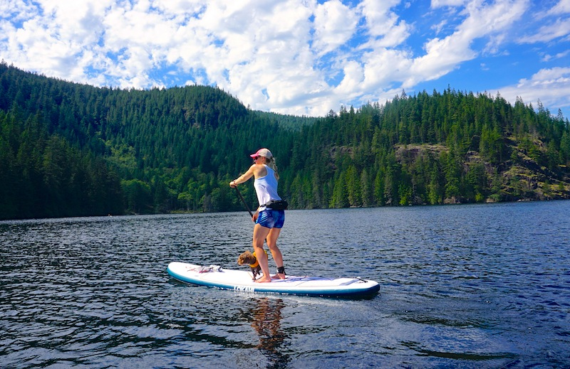 "paddling the 10'6"" Water Explorer SUP"