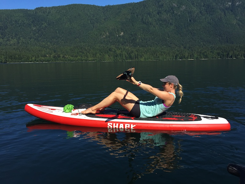 situp on paddle board SUP exercises