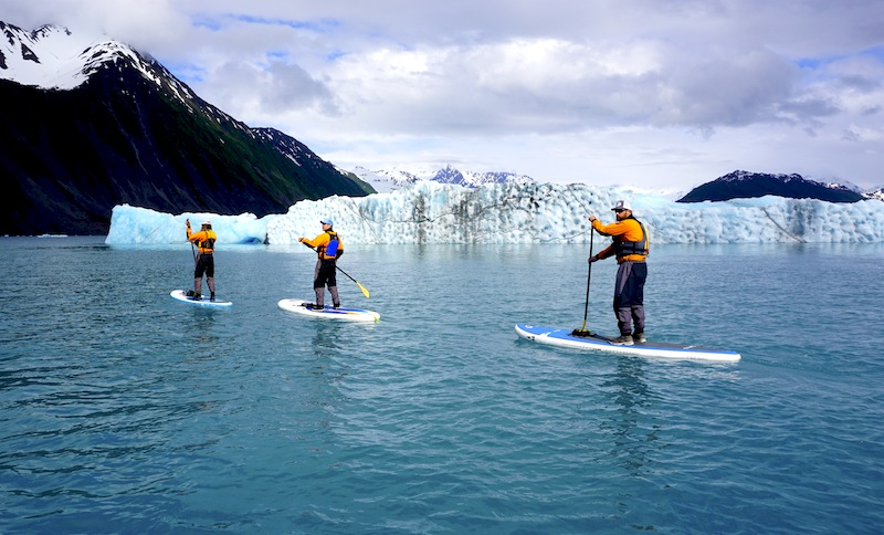stand-up paddling Bear Glacier with Liquid Adventures