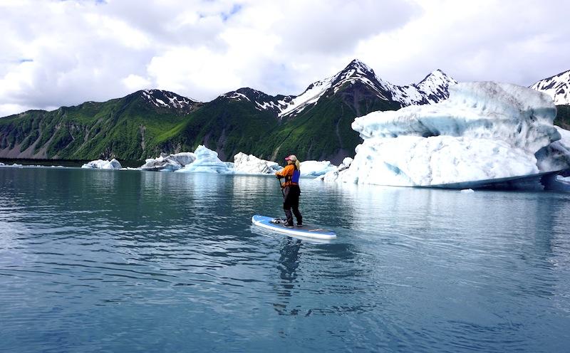 Paddling Bear Glacier Alaska SUP