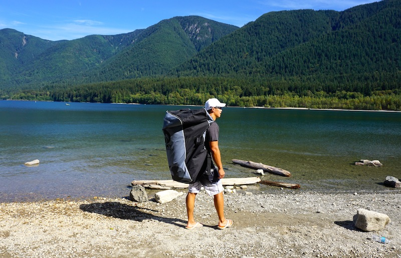 carrying the Nixy inflatable SUP in backpack