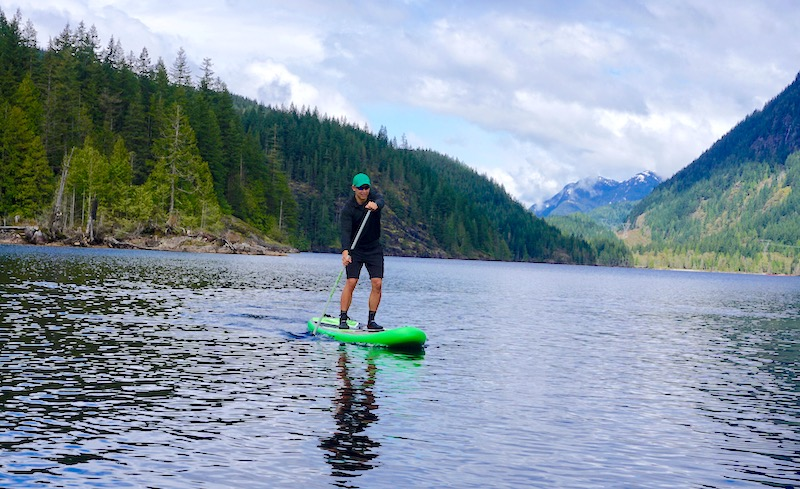 paddling the Burke 11' Quest inflatable SUP
