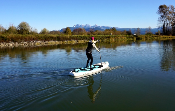 paddling the Nixy Venice yoga ISUP
